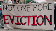 """""""Not One More Eviction"""" banner. Photo: Scott Heins/Getty Images"""