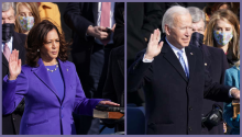 Harris & Biden take their sacred oaths. Photos: Alex Wong via Getty Images/Kevin Lamarque via Reuters