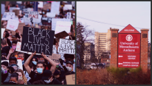 Black Lives Matter Protest, juxtaposed with University of Massachusetts Sign. Photos: (left) Maddie Meyer/Getty Images. (right) Scott Marshall