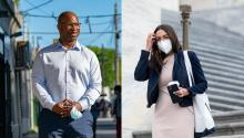Bowman and AOC, along with 52 members of Congress callon HUD and Treasury to review ERA requirements. Photo: Jeenah Moon/Getty Images, Bill Clark/Getty Images