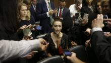 WASHINGTON, DC - SEPTEMBER 27: Actress Alyssa Milano talks to media before the Senate Judiciary Committee hearing on the nomination of Brett Kavanaugh to be an associate justice of the Supreme Court of the United States, on Capitol Hill September 27, 2018 in Washington, DC. (Photo By Michael Reynolds-Pool/Getty Images)