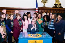 Mayor Jim Kenney signed the Domestic Worker Bill of Rights into law on November 26, 2019. Photo: NDWA.