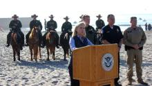 "The Secretary of the Department of Homeland Security (DHS) of the United States, Kirstjen Nielsen, speaks during a press conference on Tuesday, November 20, 2018, at Imperial Beach in San Diego, California. Nielsen criticized the Justice for interfering in the decisions of President Donald Trump, and warned the migrants arriving in caravan that ""they will not succeed in skipping the line in violation of the laws."" EFE/Rafael Salido"