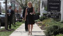ALEXANDRIA, VIRGINIA - APRIL 08: Outgoing Department of Homeland Security Secretary Kirstjen Nielsen walks out of her home to speak to the media on April 08, 2019 in Alexandria, Virginia. President Trump announced the departure of Nielson on Twitter after the two met at the White House on Sunday. (Photo by Mark Wilson/Getty Images)