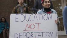 As part of a national series of university strikes in protest of the political initiatives proposed by Republican President-elect Donald J. Trump regarding immigration and the deportation of undocumented immigrants, almost a thousand students and faculty members at the University of Rutgers organized a rally and march in downtown New Brunswick, New Jersey, on November 16, 2016. (Albin Lohr-Jones / Sipa / AP Photo)