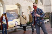 Pennsylvania Rep. Brian Sims speaks at the protest in front of U.S. Senator Pat Toomey's Philadelphia Office over the senator's vote on the American Rescue Plan Act. Photo: Neil Kohl