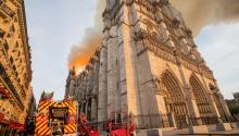 PARIS, FRANCE - APRIL 15: In this handout image provided by Brigade de sapeurs-pompiers de Paris, firefighters battle the blaze at Notre-Dame Cathedral on April 15, 2019 in Paris, France. A fire broke out on Monday afternoon and quickly spread across the building, collapsing the spire. The cause is yet unknown but officials said it was possibly linked to ongoing renovation work. (Photo by Benoît Moser/BSPP via Getty Images)