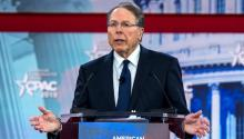 The President of the National Rifle Association (NRA), Wayne LaPierre, delivers a speech during the 45th Annual Conference of Conservative Political Action (CPAC), at the Gaylord National Resort & Convention Center in National Harbor, Maryland (United States) on the 22nd February 2018. EFE / Jim Lo Scalzo