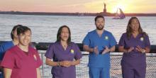 "Frame from the video of the chorus ""Nurse Heroes Hispanic Star""."