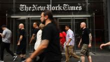 NEW YORK, NY - JULY 27: People walk past the New York Times building on July 27, 2017, in New York City. (Photo by Spencer Platt/Getty Images)