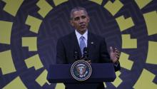 """The president of the United States, Barack Obama, gave a press conference in Lima during the APECsummit this weekend. He said that """"reality"""" will force his successor in the White House, Donald Trump, to modify some of the measures he deffended during his campain. EFE/Martín Alipaz."""