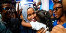 Omar during a campaign event. Photo: Mark Vancleave/Star Tribune via AP