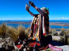 Offering ceremony for the Month of the Pachamama. Archive image.
