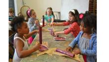 Kids  making musical instruments at PAFA summer art camp last year. Photo: PAFA
