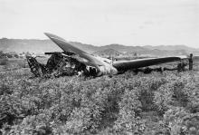 Wreckage of the B-52 bomber in Palomares, Spain during the winter of 1966. The aircraft was attempting to refuel with a KC-135 Stratotanker when a spark caused both planes to explode unloading four thermonuclear bombs onto the village below.  Photo: Kit Talbot / The New York Times