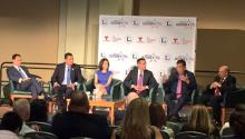(L to R) José Díaz-Balart, Noticiero Telemundo anchor; Alex Padilla, California secretary of State; Victoria DeFrancesco Soto, political analyst; Eric Garcetti, mayor of Los Angeles; Bill Richardson, former governor of New Mexico; Arturo Vargas, executive director of NALEO.