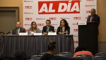 Careers in the City of Philadelphia Panel. (L-R) Trevor Day, Procurement Commissioner; Jessica DeJesús, Director of Public Works and Special Services at the Procurement Department; Edward García, Deputy Director of Philadelphia's Department of Commerce; Damaris Feliciano, Assistant Director of the Managing Director Office of Philadelphia; and Pedro Rodríguez, Director of the City of Philadelphia Human Resources Office. Photo: Yes Vargas / AL DÍA News