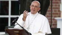 El papa Francisco durante su discurso en Independence Mall de Filadelfia. EFE