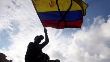 Colombian flag stained with blood. File image.