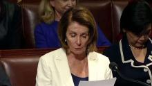The Democratic Representative for the State of California, Nancy Pelosi during her speech in the Chamber. (Video courtesy of the Washington Post)