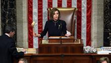 WASHINGTON, DC - DECEMBER 18: Speaker of the House Nancy Pelosi (D-CA) presides over Resolution 755 as the House of Representatives votes on the second article of impeachment of US President Donald Trump at in the House Chamber at the US Capitol Building on December 18, 2019 in Washington, DC. (Photo by Chip Somodevilla/Getty Images)