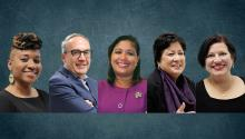 The five honorees for AL DÍA Hispanic Heritage Month Awards 2019. Left to right: Uva Coles, Manuel Trujillo, María Quiñones-Sánchez, and Nilda Iris Ruiz.