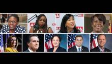 Desde izquierda a la derecha: Kendra Brooks, Jamie Gauthier, Helen Gym, CherelleParker, Nancy Pelosi, Mitt Romney, Katie Porter, Justin Amash, y Adam Schiff.