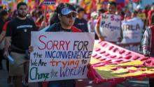 People are participating in multiple May Day marches and rallies around Los Angeles, calling for the support of labor and immigrant concerns such as wage improvement, immigration reform, and a citizenship question in the upcoming national census. Photo: David McNew / Getty Images