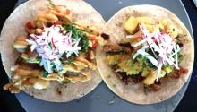 Korean and chicken tacos. Photo: Eli Siegel