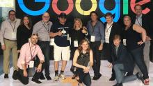 Hernán Guaracao (center) with colleagues at Google headquarteres in Silicon Valley. Photo: Courtesy of Hernán Guaracao
