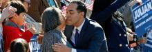 Julián Castro hugs his mother, Rosie Castro, before announcing his candidacy for president in 2020, at Plaza Guadalupe on January 12, 2019 in San Antonio, Texas. Photo: Getty Images