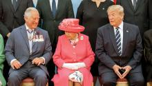 Queen Elizabeth II, accompanied by Prince Charles, Prince of Wales, President of the United States, Donald Trump pose for a formal photograph with leaders of the other Allied Nations ahead of the National Commemorative Event commemorating the 75th anniversary of the D-Day invasion on June 5, 2019 in Portsmouth England. Photo: Jack Hill - WPA Pool / Getty Images