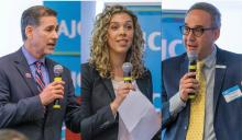 Anthony Lopez, CEO of Azzur Corporation; Nicole Marquis, CEO and founder of HipCityVeg Restaurants; and Manuel Trujillo, CEO and founder of Swain Technologies spoke at the Latino-Jewish Entrepreneurial Summit. (Photos provided by AJC Philadelphia)