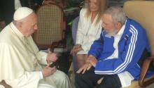 A handout picture released by the Osservatore Romano, the daily newspaper of the Vatican shows Pope Francis (L) meeting Fidel Castro in Havana, Cuba, 20 September 2015.