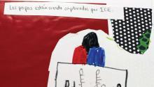 Dibujo de Nevin en la clase de Nora Litz en Puentes de Salud en que dibujaron ilustraciones sobre su reacción a la retórica de Trump sobre inmigrantes.