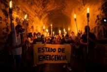 Feminist Collective demanding their rights in San Juan, Puerto Rico, Sept. 28, 2020. Photo by Ramon Tonito Zayas/GFR Media via GDA via AP, FILE