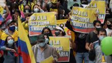 Protests in Colombia against the tax reform. Photo by CNN.