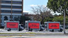 Three trucks with giant signs addressed to Republican Sen. Marco Rubio drive through the streets of Miami, Florida, USA on Feb. 16, 2018. EPA-EFE/Jorge Ignacio Perez