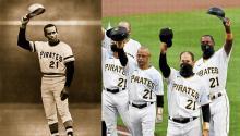 (Izquierda) Roberto Clemente. (Derecha) Homenaje de los Pirates al mítico jugador boricua. Photo: El Nuevo Día.