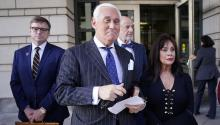 WASHINGTON, DC - NOVEMBER 15: Former advisor to U.S. President Donald Trump, Roger Stone (2nd L), departs the E. Barrett Prettyman United States Courthouse with his wife Nydia (R) after being found guilty of obstructing a congressional investigation into Russia's interference in the 2016 election on November 15, 2019 in Washington, DC. (Photo by Win McNamee/Getty Images)
