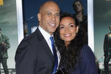 Rosario Dawson and Cory Booker. Getty Images.