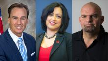 Lt. Gov. Mike Stack, former Philadelphia Deputy Mayor Nina Ahmad, and Braddock Mayor John Fetterman are three of the seven Democratic candidates in the race for Lieutenant Governor of Pennsylvania.