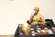 Animated Lola cosplays as Vega, from Street Fighter, during the 2019 NerdTino Expo in Philadelphia. Photo: Jensen Toussaint/AL DÍA News.
