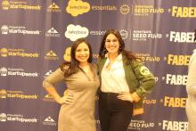 Stephanie Piris and Carolina Castro at the Techstars Startup Week in Philadelphia on Nov. 8. Photo: Jensen Toussaint/AL DÍA News.