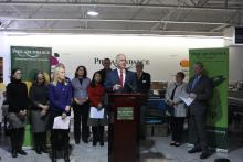 U.S. Senator Bob Casey speaks at a gathering at the Philabundance warehouse in South Philadelphia on Jan. 14, highlighting the impact of the government shutdown on those who are experiencing food insecurity. Photo: Jonathan Gonzalez / Digital Media Associate, Philabundance.