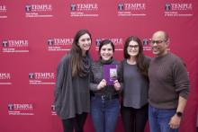 """From Left to Right: (Bateman Competition team members) Mary Kate O'Malley, Christina Borst, Rose McBride, and (Public Relations Professor) David Brown with a copy of the book """"Diverse Voices: Profiles in Leadership."""" Photo: Jensen Toussaint/ AL DÍA News"""