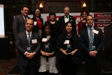 Recipients of the AL DÍA Top Doctors Award (left to right: Dr. Christian Bermudez, Dr. Carmen Guerra, Dr. Natalia Ortiz-Torrent and Dr. Victor Navarro) pose with Hernán Guaracao, Dr. Johanna Vidal-Phelan, Dr. Elena Rios, Dr. Daniel Schidlow and Dr. Matilde Irigoyen at the second annual AL DÍA Top Doctors Forum on Jan. 22. Photo: Nigel Thompson/AL DÍA News.