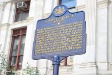 A new historical marker honoring Latina LGBTQ activist Gloria Casarezwas unveiled at Philadelphia City Hall on Friday, October 8. Photo: Jensen Toussaint/AL DÍA.