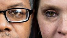 Daryle Lamont Jenkins, Executive Director of One People's Project, and former white nationalist Erica Hardwick. Samantha Laub / AL DÍA News