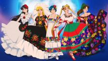 Sailor Moon in Mexican traditional costumes. Illustrations for GoGo Catrina. Artist: @choo.seok